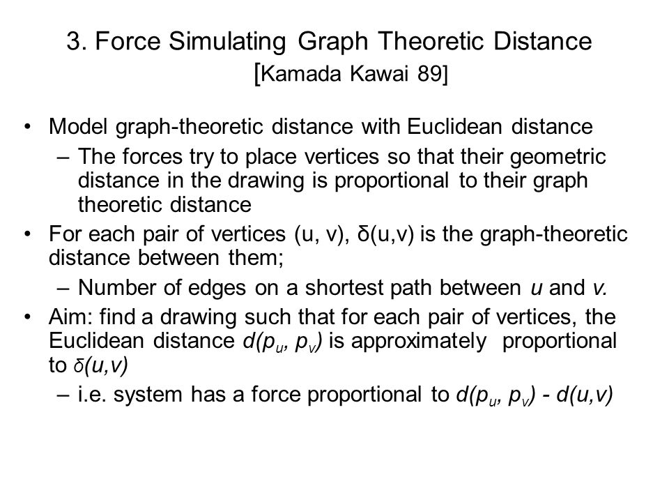 3. Force Simulating Graph Theoretic Distance [Kamada Kawai 89]